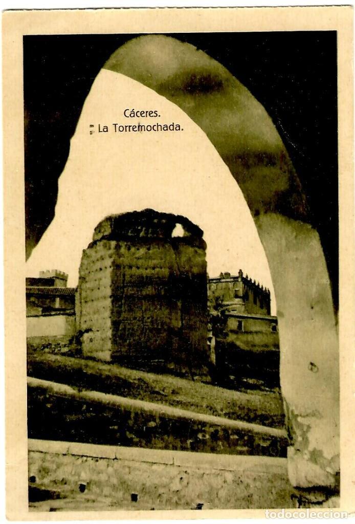 CÁCERES - LA TORREMOCHADA - ED. EULOGIO BLASCO - TONALIDAD VERDOSA - 139X90 MM (Postales - España - Extremadura Antigua (hasta 1939))