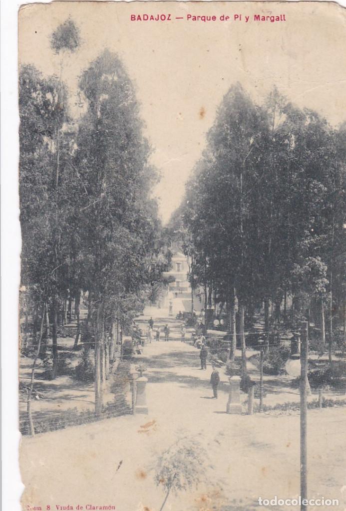 BADAJOZ PARQUE DE PI Y MARGALL. ED. VIUDA DE CLARAMON Nº 8. CIRCULADA EN 1911 (Postales - España - Extremadura Antigua (hasta 1939))