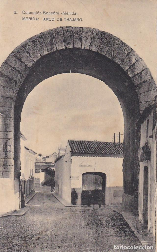 BADAJOZ MERIDA ARCO DE TRAJANO. ED. BOCCONI, HAUSER Y MENET Nº 2. CIRCULADA EN 1926 (Postales - España - Extremadura Antigua (hasta 1939))
