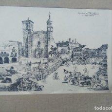Postales: ANTIGUA POSTAL GRABADO, J. GALLARDO, PLAZA DE TRUJILLO, EL ENCIERRO.. Lote 271111808