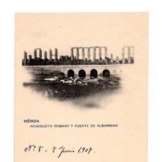 Postales: MÉRIDA.(BADAJOZ).- ACUEDUCTO ROMANO Y PUENTE DE ALBARREGO.. Lote 273287213