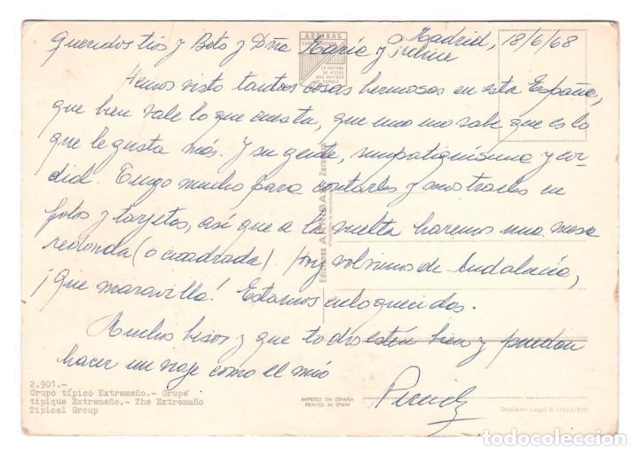 Postales: EXTREMADURA (ESPAÑA) - GRUPO TÍPICO EXTREMEÑO - CIRCULADA EN 1968 - Foto 2 - 274644318