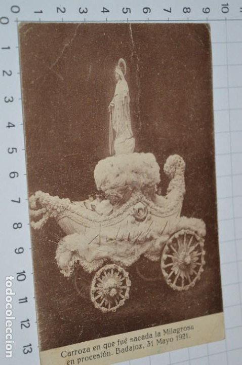 Postales: Antigua / DIFÍCIL POSTAL SIN CIRCULAR - CARROZA LA MILAGROSA / Badajoz 31 Mayo 1921 ¡Mira detalles! - Foto 2 - 276944578