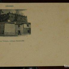 Postales: CACERES, CASA DE LAS VELETAS, ANTIGUO GENERALIFE, FOT. ECHALUCE, SIN CIRCULAR Y SIN DIVIDIR, PAPELER. Lote 286309178