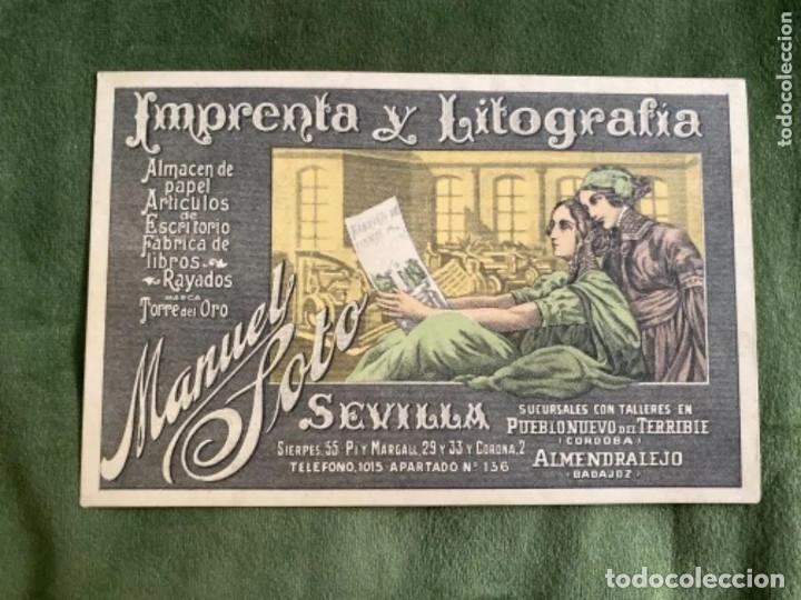 ANTIGUA POSTAL PUBLICIDAD IMPRENTA Y LITOGRAFÍA MANUEL SOTO SEVILLA SUCURSAL ALMENDRALEJO BADAJOZ (Postales - España - Extremadura Antigua (hasta 1939))