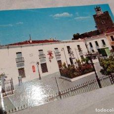 Postales: POSTAL BANCARROTA 1970 BADAJOZ EXTREMADURA PLAZA ESPAÑA MONUMENTO HERNANDO DE SOTO EMBLEMA FALANGE. Lote 289753603