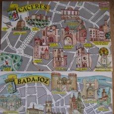 Postales: EXTREMADURA. 2 POSTALES PLANO MONUMENTAL CAPITALES DE PROVINCIA. ED. FRESNO. SIN CIRCULAR. Lote 294147868