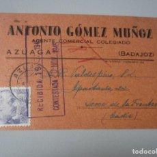 Postales: TARJETA AZUAGA ( BADAJOZ ). Lote 295492523