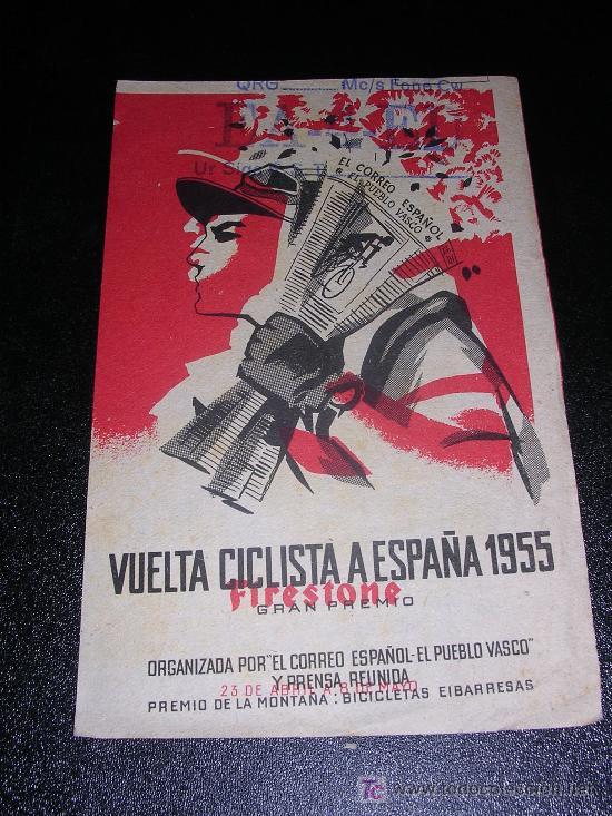 VUELTA CICLISTA A ESPAÑA 1955, GRAN PREMIO FIRESTONE, LEDESMA, BILBAO  EA-4-ED