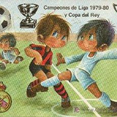 Coleccionismo deportivo: TARJETA POSTAL DE FUTBOL REAL MADRID CAMPEONES DE LIGA Y COPA DEL REY 1979-80 ILUSTRADA GABRIEL. Lote 26589150