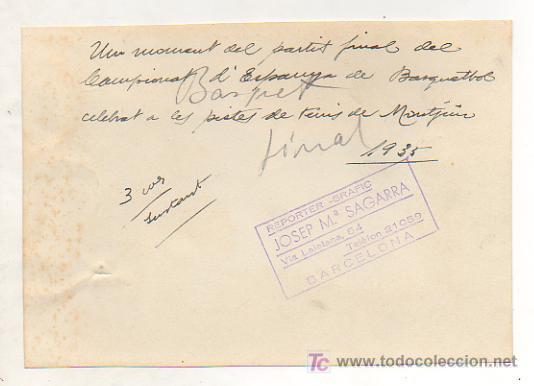 Coleccionismo deportivo: FOTOGRAFÍA UN MOMENTO DEL PARTIDO FINAL DEL CAMPEONATO DE ESPAÑA DE BALONCESTO, MONTJUICH. 1935. - Foto 2 - 15608519