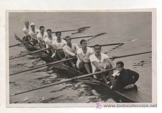REMO. TROFEO JUAN CAMPS. REGATA EN AUTRIGGER. EL EQUIPO DEL CLUB MARÍTIMO DE BARCELONA GANADOR. 1935 (Coleccionismo Deportivo - Postales de Deportes - Fútbol)