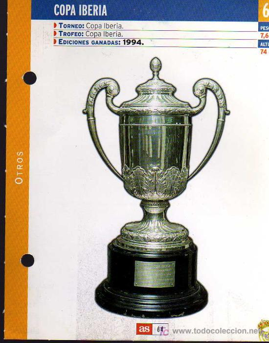 FICHA COLECCIONABLE DEL DIARIO AS - COPA IBERIA - 1994 REAL MADRID (Coleccionismo Deportivo - Postales de Deportes - Fútbol)