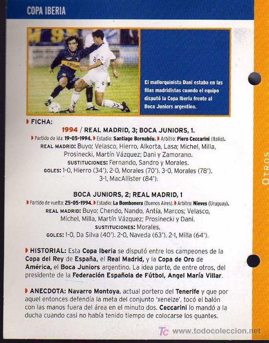 Coleccionismo deportivo: FICHA COLECCIONABLE DEL DIARIO AS - COPA IBERIA - 1994 REAL MADRID - Foto 2 - 130478815