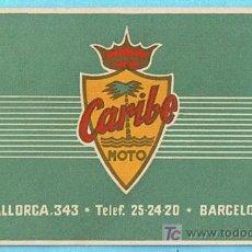 Coleccionismo deportivo: TARJETA DE CARTULINA DE CARIBE MOTO. MALLORCA, 343. BARCELONA, SIN FECHA.. Lote 21011555