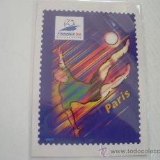 Coleccionismo deportivo: COPA DEL MUNDO DE FUTBOL FRANCIA 98 - TARJETA CONMEMORATIVA CON SELLO IMPRESO. Lote 24380356