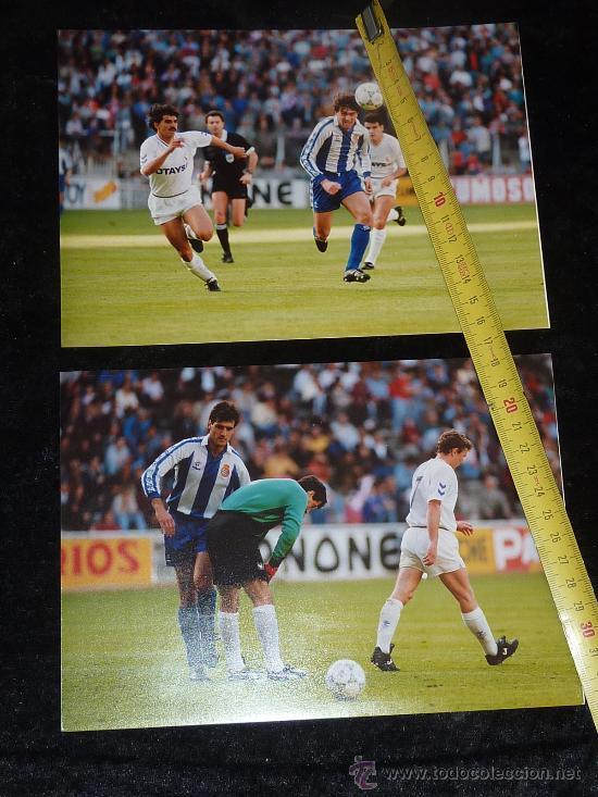 LOTE DE 2 FOTOGRAFIAS ORIGINALES DE FUTBOL. PARTIDO ESPAÑOL - REAL MADRID DEL 19/04/1992. ESPANYOL. (Coleccionismo Deportivo - Postales de Deportes - Fútbol)
