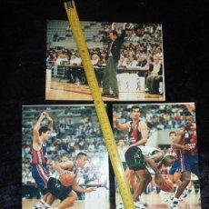 Coleccionismo deportivo: LOTE DE 3 FOTOGRAFIAS ORIGINALES DE BALONCESTO. PARTIDO BARÇA - PENYA BADALONA DEL 10/10/1993. . Lote 25149260