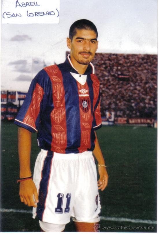 FOTO DE ABREU CON EL SAN LORENZO ALMAGRO - GOLY (Coleccionismo Deportivo - Postales de Deportes - Fútbol)
