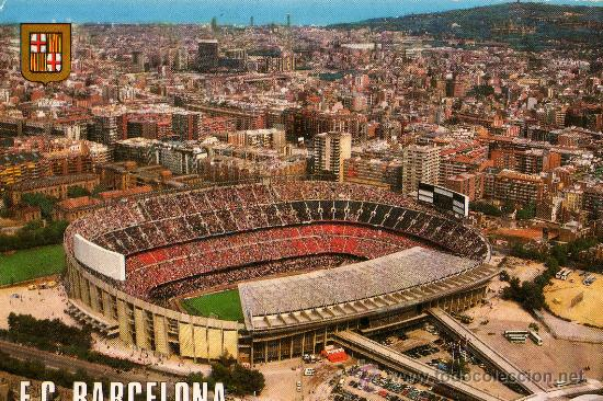 BARCELONA Nº 505 ESTADI FUTBOL CLUB BARCELONA NOU CAMP AÉREA ESCRITA SIN CIRCULAR ESCUDO DE ORO (Coleccionismo Deportivo - Postales de Deportes - Fútbol)