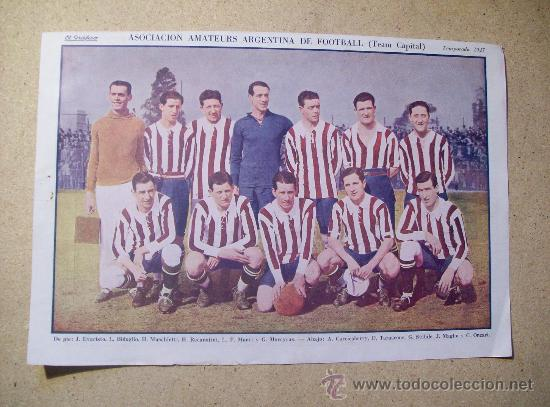 1927 FOOTBALL FUTBOL ARGENTINA - AMATEURS. HELEN JACOBS (Coleccionismo Deportivo - Postales de Deportes - Fútbol)