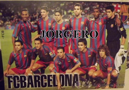 F.C.BARCELONA. ALINEACIÓN TEMPORADA 2005-2006. POSTAL (TAMAÑO PÓSTER) (Coleccionismo Deportivo - Postales de Deportes - Fútbol)