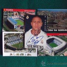 Coleccionismo deportivo: POSTALES-ROBERTO CARLOS-AUTOGRAFO-BERNABEU-CAMP NOU-VICENTE CALDERON-RICO PEREZ-. Lote 171380692