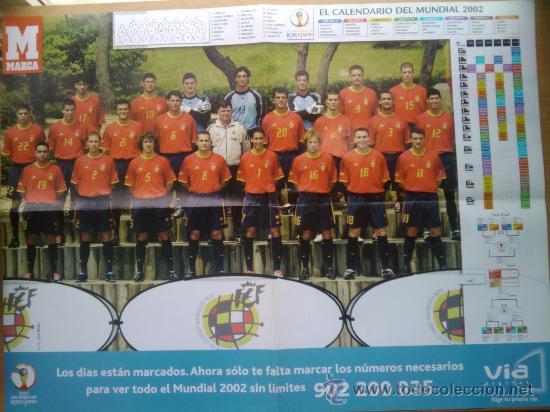 POSTER GRANDE - ESPAÑA MUNDIAL 2002 JAPON Y COREA - SELECCION ESPAÑOLA NUEVO - (Coleccionismo Deportivo - Postales de Deportes - Fútbol)