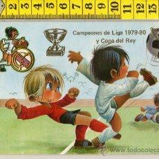 Coleccionismo deportivo: TARJETA POSTAL DE FUTBOL REAL MADRID CAMPEONES DE LIGA Y COPA DEL REY 1979-80 ILUSTRADA GABRIEL. Lote 25770666
