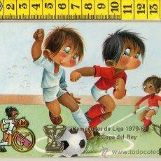 Coleccionismo deportivo: TARJETA POSTAL DE FUTBOL REAL MADRID CAMPEONES DE LIGA Y COPA DEL REY 1979-80 ILUSTRADA GABRIEL. Lote 29712140