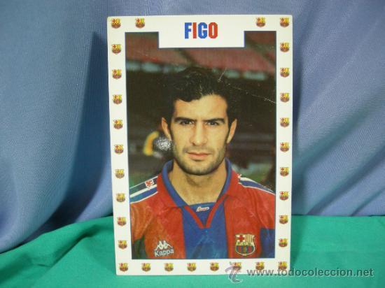TARJETA POSTAL DEL F.C. BARCELONA FUTBOL JUGADOR FIGO - FOTO SEGUI (Coleccionismo Deportivo - Postales de Deportes - Fútbol)