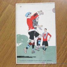 Coleccionismo deportivo: ANTIGUA POSTAL DE FUTBOL Nº 19 - GUARDAMETA RECHAZANDO LA PELOTA - ESTADO PERFECTO. Lote 36047069