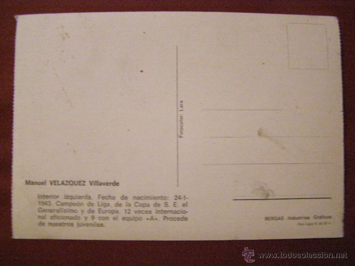 Coleccionismo deportivo: Manuel Velázquez Villaverde - Jugador Real Madrid - Postal - - Foto 2 - 40333966