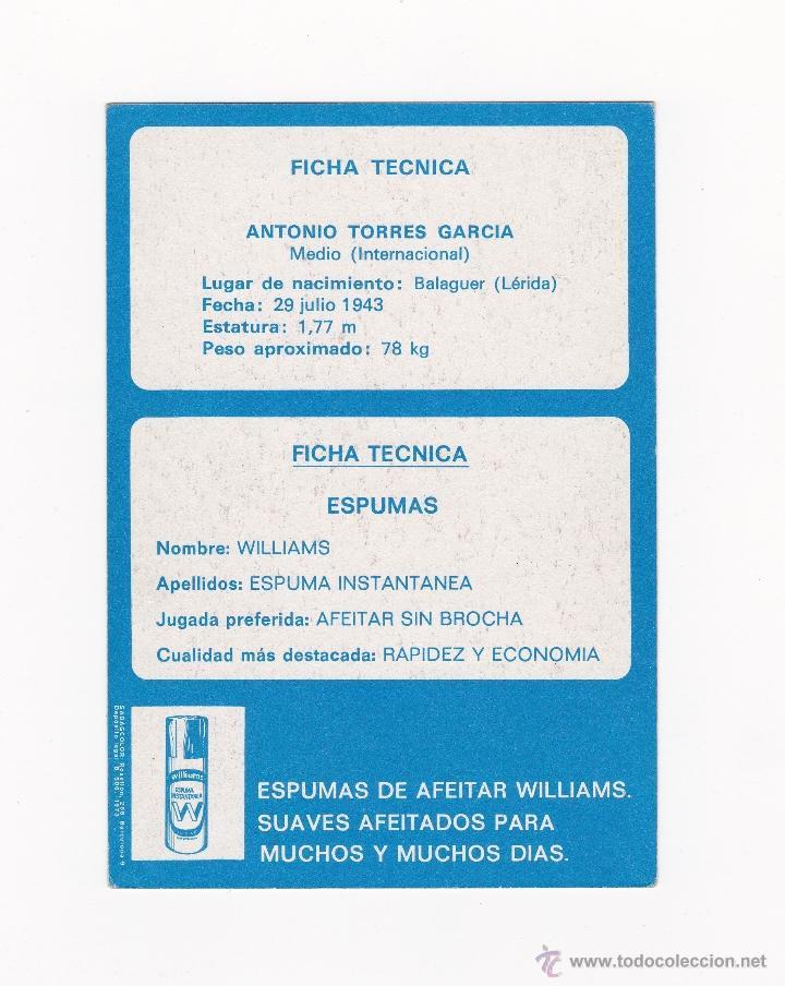 Coleccionismo deportivo: POSTAL 10.5 X 15 CM. - ANTONIO TORRES (BARCELONA) AÑOS 60-70'S PUBLICIDAD WILLIAMS - Foto 2 - 40877032