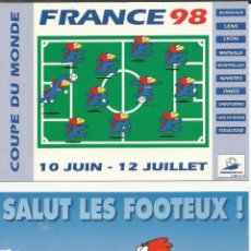 Coleccionismo deportivo: PAREJA DE POSTALES DE FUTBOL COPA DEL MUNDO FRANCIA 98. Lote 40877311