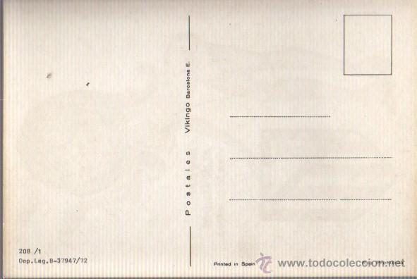 Coleccionismo deportivo: postal de futbol - del atletico de madrid - colchoneros 1972 - postales vikingo 208-1 - Foto 2 - 41815078