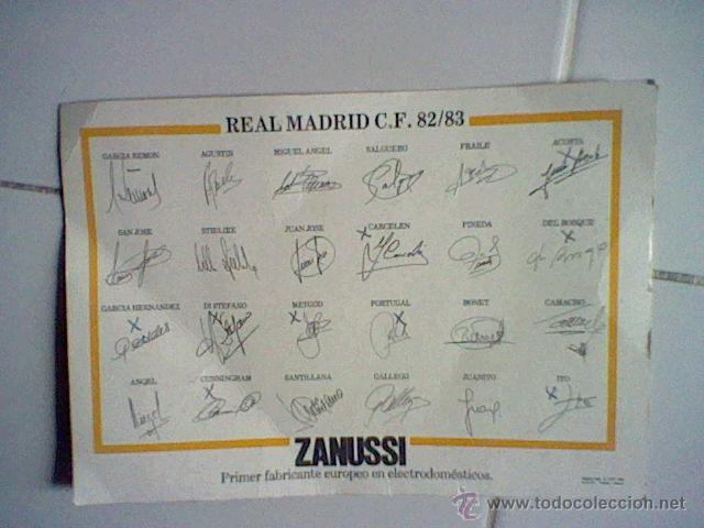 Coleccionismo deportivo: alineacion real madrid temporada 82 83 lamina tamaño postal publicidad Zanussi (B25) - Foto 2 - 43241171