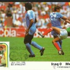 Coleccionismo deportivo: POSTAL PRIMER DIA DE CIRCULACION COPA MUNDIAL FUTBOL MEXICO 86- IRAK 0- MEXICO 1- FIFA. Lote 48336438