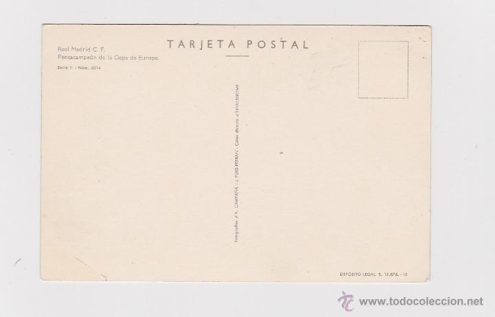 Coleccionismo deportivo: POSTAL ORIGINAL DE EPOCA (AÑOS 60) - REAL MADRID PENTACAMPEON COPA EUROPA CON DI STEFANO - - Foto 2 - 49867183