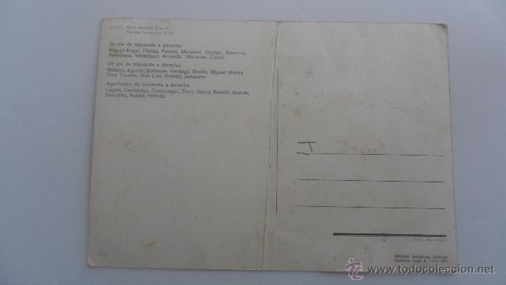 Coleccionismo deportivo: tarjeta postal real madrid plantilla temporada 72-73 tamaño 14,6cm x 20,08cm - Foto 3 - 51357670