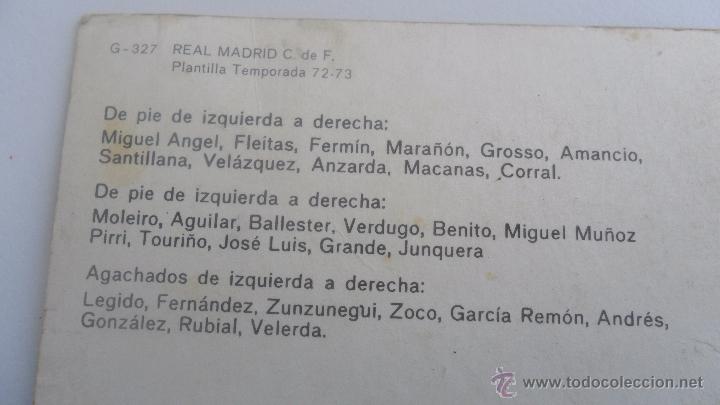 Coleccionismo deportivo: tarjeta postal real madrid plantilla temporada 72-73 tamaño 14,6cm x 20,08cm - Foto 4 - 51357670