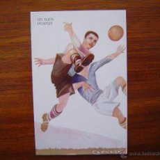 Collectionnisme sportif: POSTAL 1229 EDICIONES VICTORIA - UN BUEN DESPEJE ( FUTBOL R.C.D. ESPAÑOL ) - ILUSTRADOR : CERVELLÓ. Lote 52912225