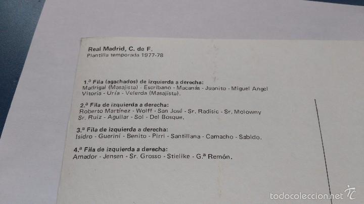 Coleccionismo deportivo: postal de real madrid plantilla 77 78 - Foto 2 - 144819858