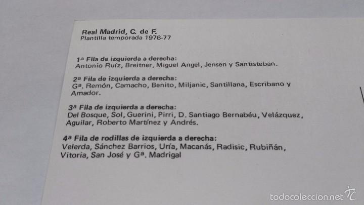 Coleccionismo deportivo: postal de real madrid plantilla 76 77 - Foto 2 - 55684376