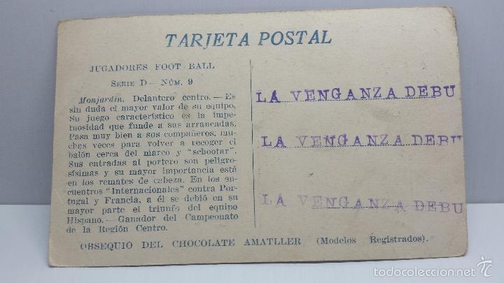 Coleccionismo deportivo: POSTAL FUTBOL JUGADORES DE FOOT-BALL CHOCOLATES AMATLLER-Monjardin Serie D Nº 9 - Foto 2 - 56465905