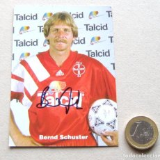 Coleccionismo deportivo: POSTAL POSTCARD BERND SCHUSTER FIRMADA BAYER LEVERKUSEN 1993 PANINI ORIG. SIGNED EX REAL MADRID. Lote 61464667