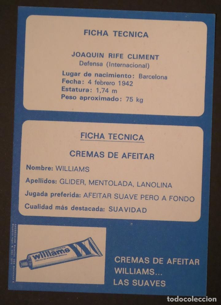 Coleccionismo deportivo: Ficha ténica de Joaquim Rife Climent, Postal de propaganda de Wiliams - Foto 2 - 67182273