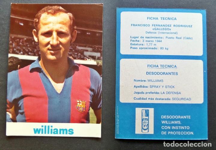 Coleccionismo deportivo: Ficha de Francisco Fernandez Rodriguez -Gallego-. Postal de propaganda de wiliams - Foto 2 - 67736609