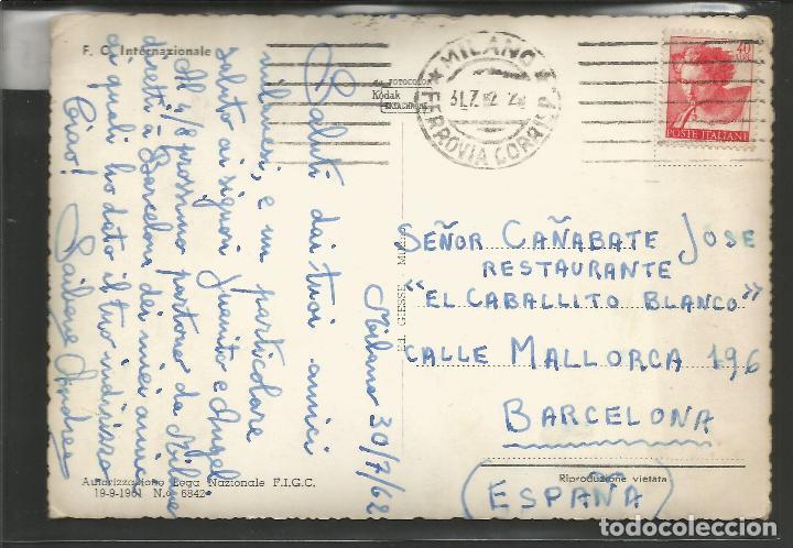 Coleccionismo deportivo: POSTAL INTER DE MILAN -CIRCULADA EN EL 1962 - VER REVERSO - (45.761) - Foto 2 - 69944725