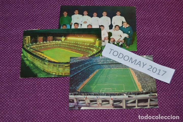 VINTAGE - LOTE DE 3 ANTIGUAS POSTALES DEL REAL MADRID Y DEL SANTIAGO BERNABEU - UNA CIRCULADA (Coleccionismo Deportivo - Postales de Deportes - Fútbol)